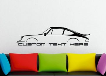 Large Custom car silhouette wall sticker - for Porsche 911 Turbo, 930 (1975–1977) classic